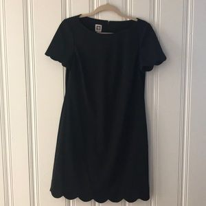 Anne Klein Black Scalloped Dress